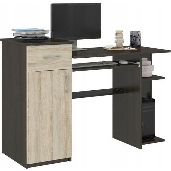 BERGEN - Bureau d'ordinateur - 120x76x50 cm - Bureau ordinateur PC - Support clavier étagère imprimante - Wengé Sonoma