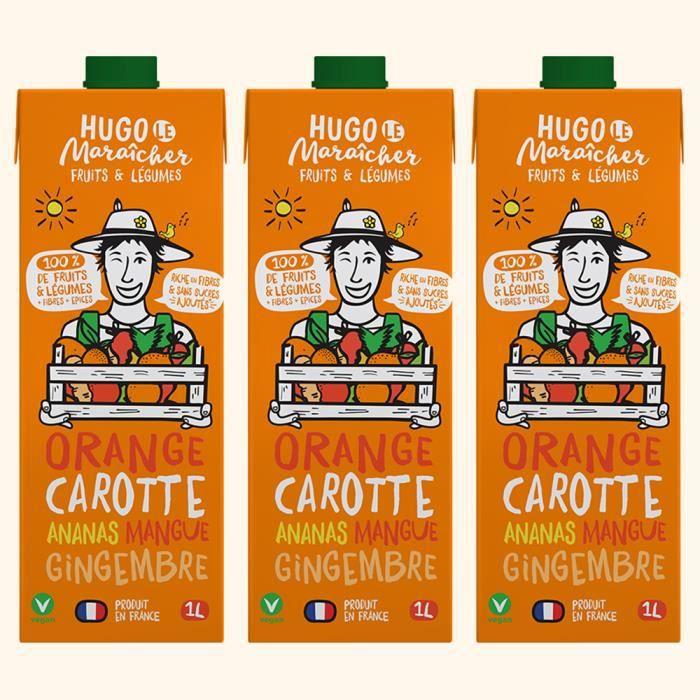 Hugo Le Maraîcher - Jus de Fruits et Légumes Orange Carotte 1L - Pack de 3