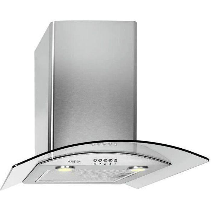 Klarstein GL60WS - Hotte - hotte décorative - largeur : 60 cm - profondeur : 60 cm - extraction et recirculation