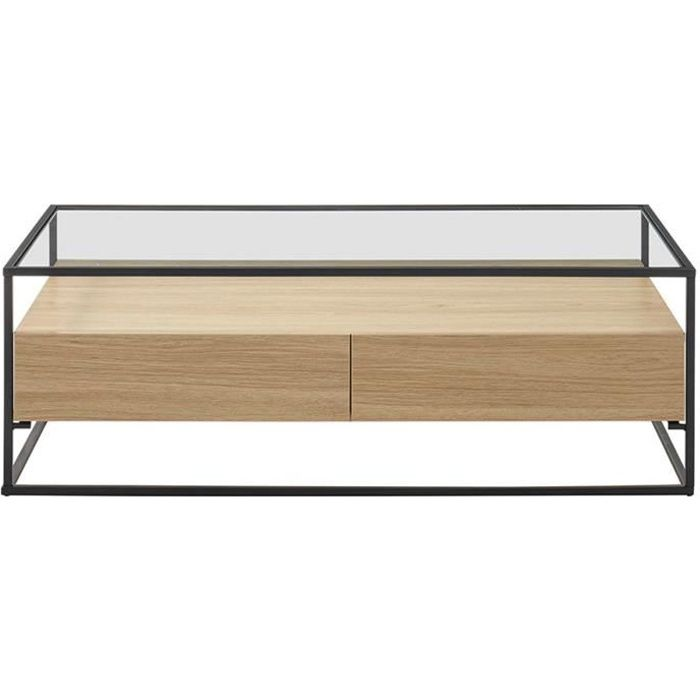 Miliboo - Table basse design avec plateau verre et tiroirs bois FINN
