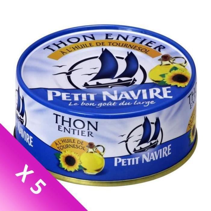 [LOT DE 5] PETIT NAVIRE Thon entier à l'huile tournesol - 160 g