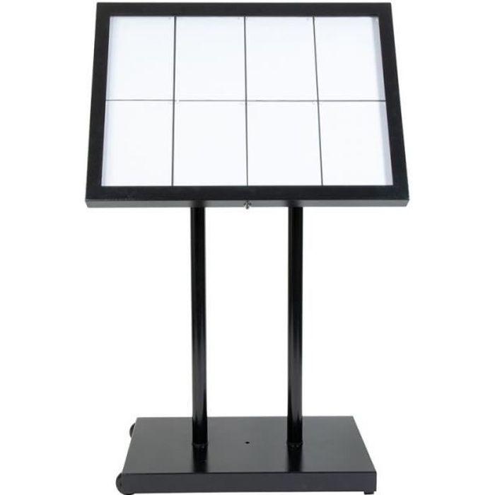 Porte menu 8 x A4 Black Star XXL (éclairage LED) - Présentation menu hôtel restaurant extérieur - MCS-8A4-BL-SET 45 cm (base)