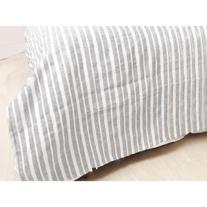 SOLEIL D'OCRE Jeté de canapé cotonnade - 220x240 cm - Ecru