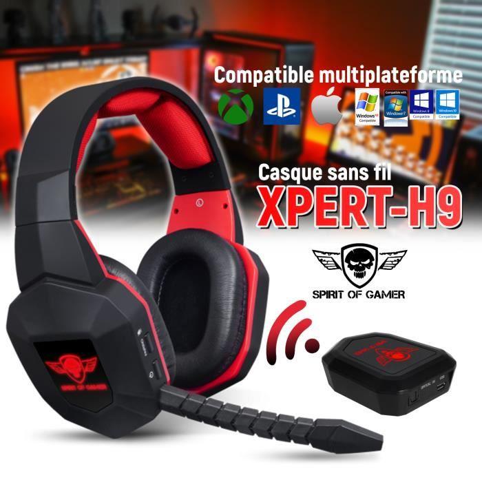 Casque audio gamer Xpert H9 sans fil compatible Ps3/Ps4/Xbox One/Xbox 360/Pc/Mac