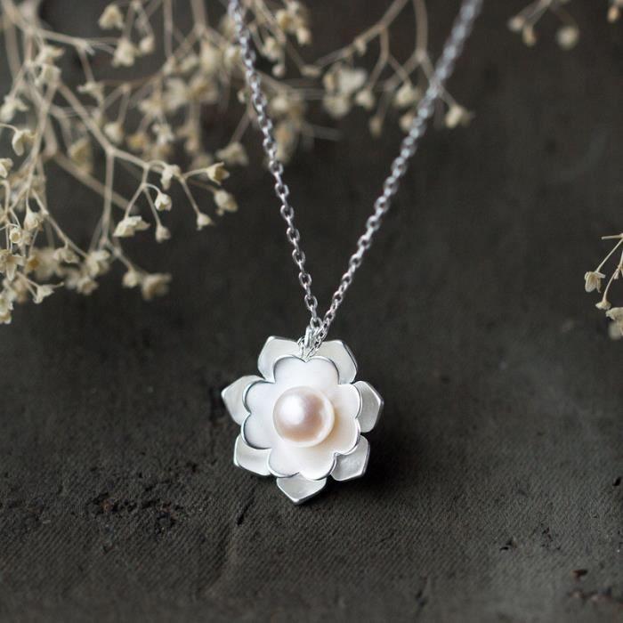Réal. Bijoux en argent sterling 925 Bijoux Lotus White Shell Collier pendentif