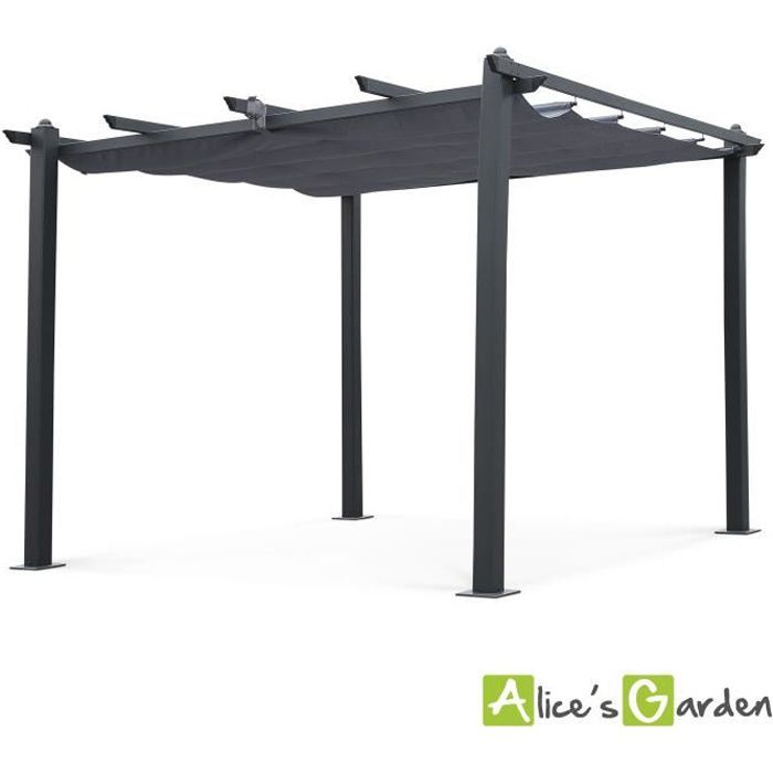 tente de jardin pergola aluminium 3x3m condate gris. Black Bedroom Furniture Sets. Home Design Ideas