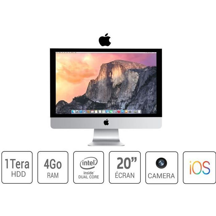 ORDI BUREAU RECONDITIONNÉ imac apple a1224 20 pouce core 2 duo4 go ram 1 to