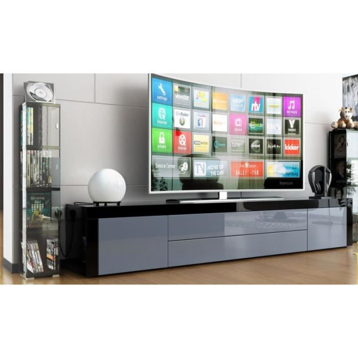 meuble tv bas laqu noir gris achat vente meuble tv meuble tv bas laqu noir cdiscount. Black Bedroom Furniture Sets. Home Design Ideas