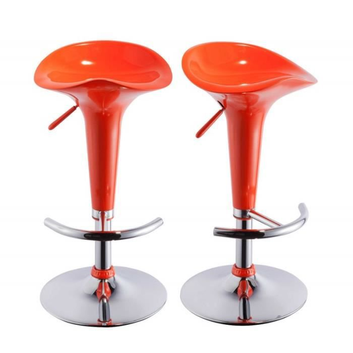 lot de 2 tabourets de bar orange 1209019 achat vente. Black Bedroom Furniture Sets. Home Design Ideas