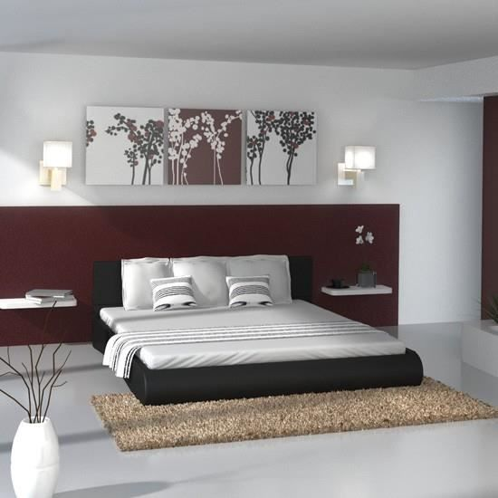 lit en similicuir noir 180 cm avec sommier achat vente. Black Bedroom Furniture Sets. Home Design Ideas