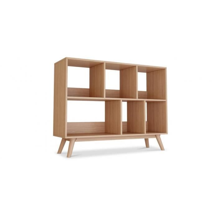 biblioth que 6 compartiments bois achat vente. Black Bedroom Furniture Sets. Home Design Ideas