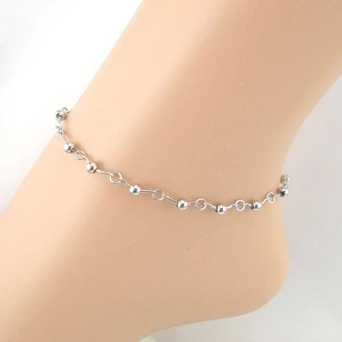 CHAINE DE CHEVILLE Chaîne de ligne de perles de femmes Bracelet chevi