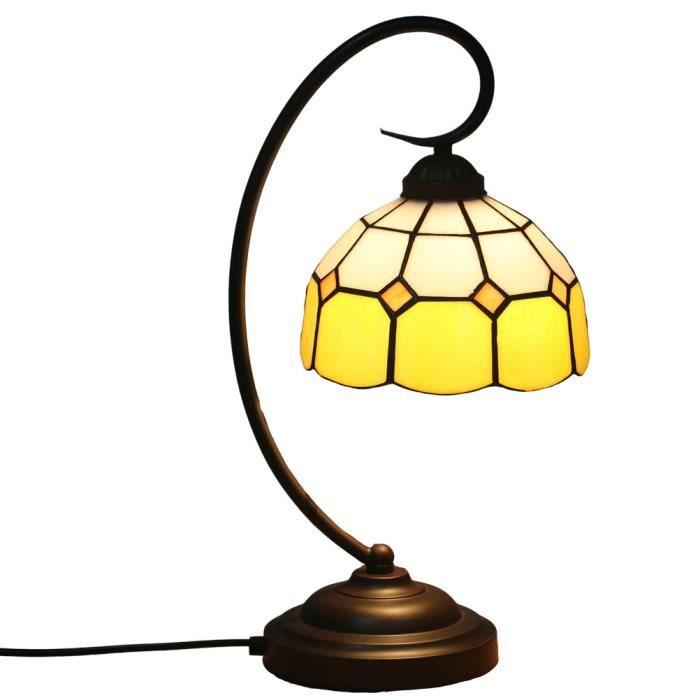 Fabakira Lampe Chevet E27 Vitrail 20 47cm Jaune Tiffany