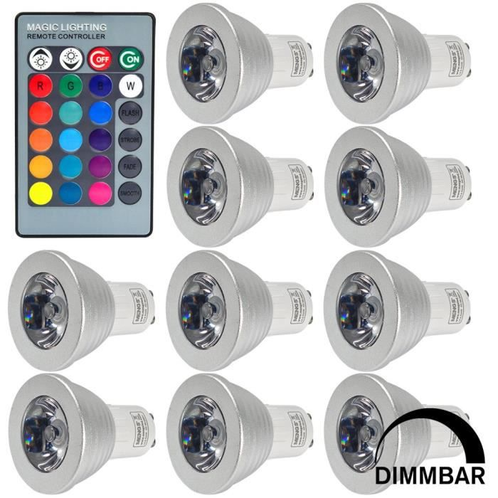 Mengs 10pcs ampoule led rgb gu10 3w 16 couleurs for Ampoule de couleur castorama
