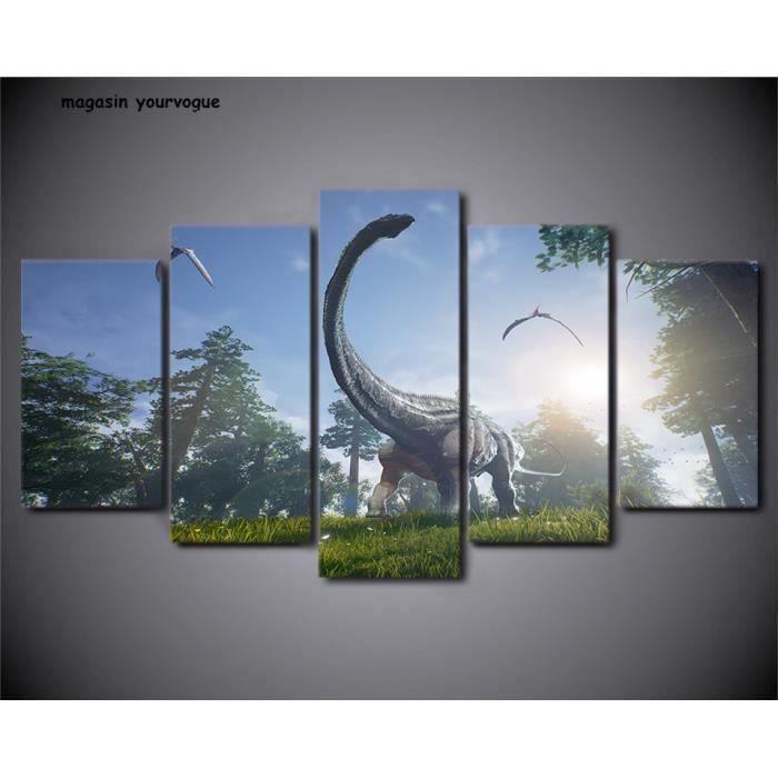 Dinosaure photo de famille//photo imprimé sur encadrée bois Toile Wall Art Home Decor