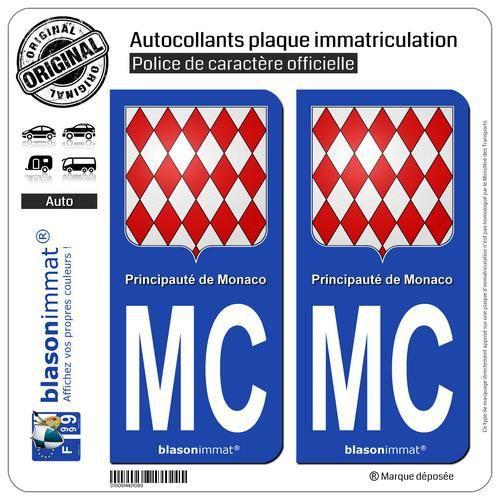 Autocollant plaque immatriculation auto drapeau monaco