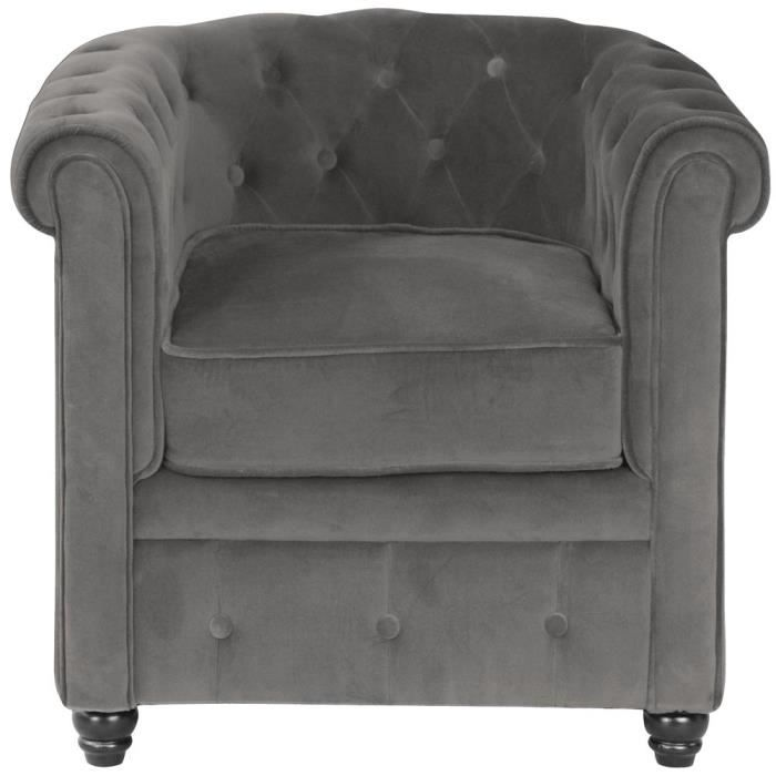 fauteuil chesterfield velours gris achat vente fauteuil velours 100 coton pin. Black Bedroom Furniture Sets. Home Design Ideas
