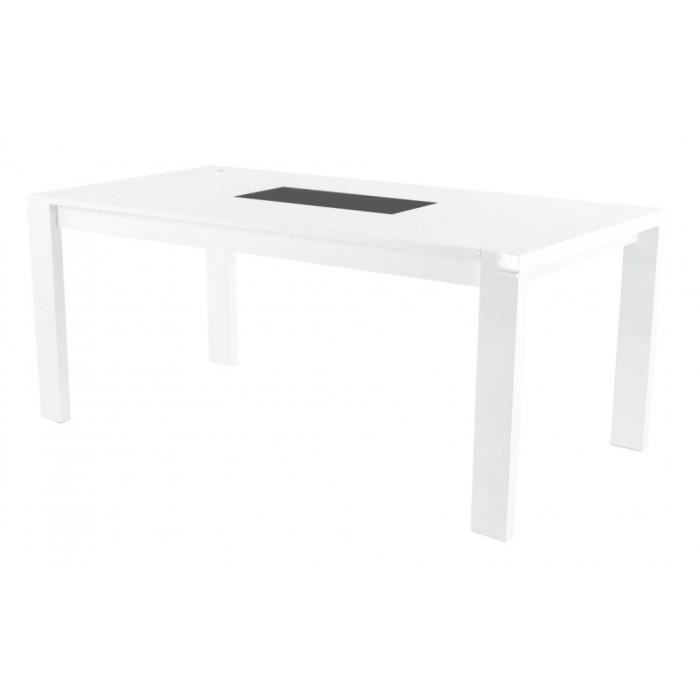 Table repas laqu e blanche 180 x 76 cm geometry achat vente table man - Table a manger blanche laquee ...