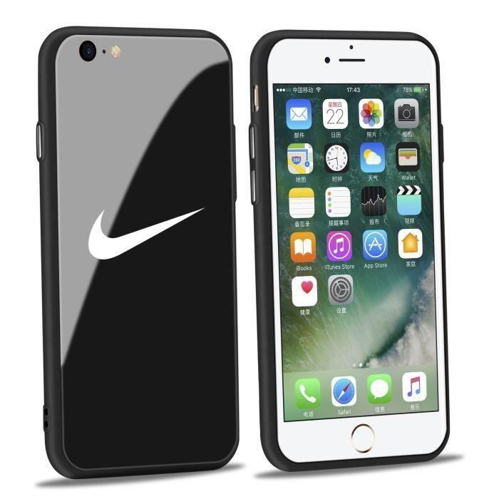 coque iphone 7 plus 8 plus nike noir verre coque b