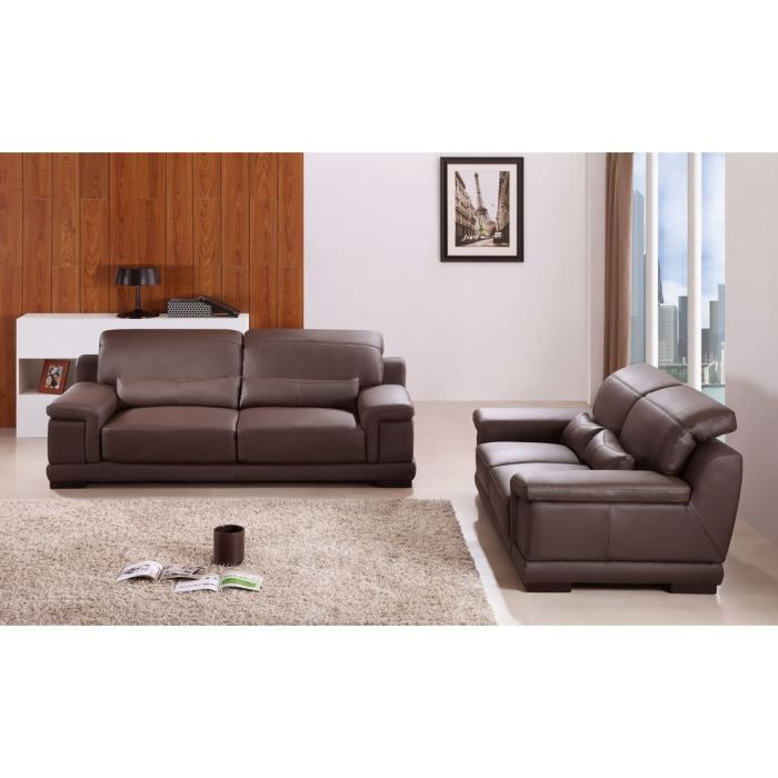 roma canap 3 places cuir chocolat achat vente canap sofa divan cdiscount. Black Bedroom Furniture Sets. Home Design Ideas