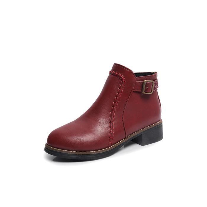 BOTTE Chaussures plates Bottes femme cheville Flock Slip