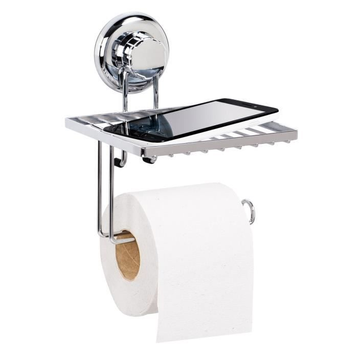 tatkraft megalock porte papier toilette et support telephone acier chrome 15x15x19 5 cm vacuum. Black Bedroom Furniture Sets. Home Design Ideas