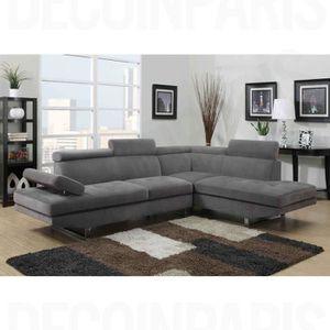 CANAPÉ - SOFA - DIVAN Canapé design en tissu gris angle droit RUBIC