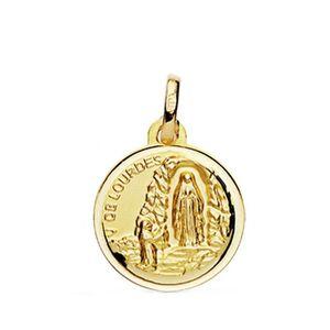 PENDENTIF VENDU SEUL Médaille pendentif Lourdes Vierge en or 18 carats