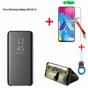 HOUSSE - ÉTUI Noir Etui Coque Samsung Galaxy A50 Clear View Etui