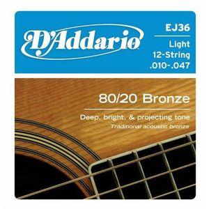 .047 D/'ADDARIO Jeu Cordes Guitare Acoustique Folk  .011 Silk /& steel EJ35
