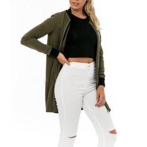 VESTE Vert foncé Veste femme longue bomber jacket zippé
