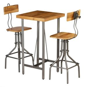 TABLE DE CUISINE  Ensemble de bar 3 pcs Teck recyclé massif