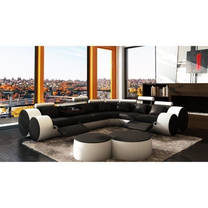 Canapé d'angle cuir noir et blanc + positions relax ROMA