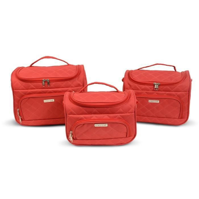 KINSTON Set de 3 Vanity Souple 14-21-24cm Rouge
