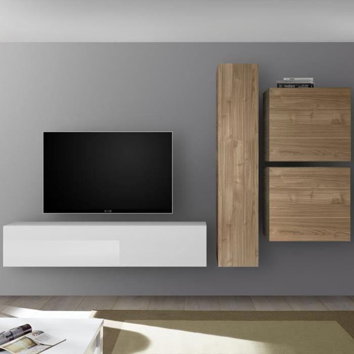 Composition murale TV blanc laqué et couleur chêne PUNTA Marron L 260 x P 30 x H 180