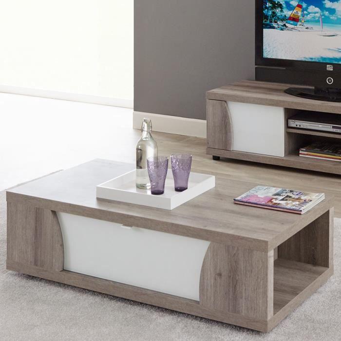 Table basse bois et laqué blanc ELISA L 120 x P 60 x H 40 cm Marron