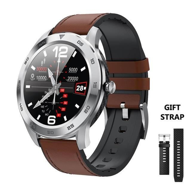 Light Brown Nouveau DT98 montre intelligente IP68 étanche 1.3 plein écran rond HD détection ECG multi cadrans Smartwatch Fitness Tra