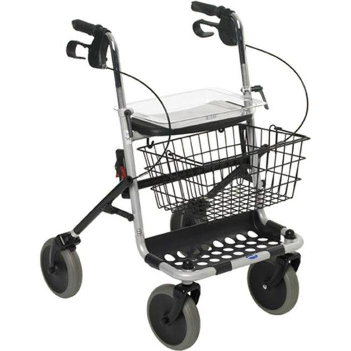 Déambulateur 4 roues avec siège, panier et plateau Banjo