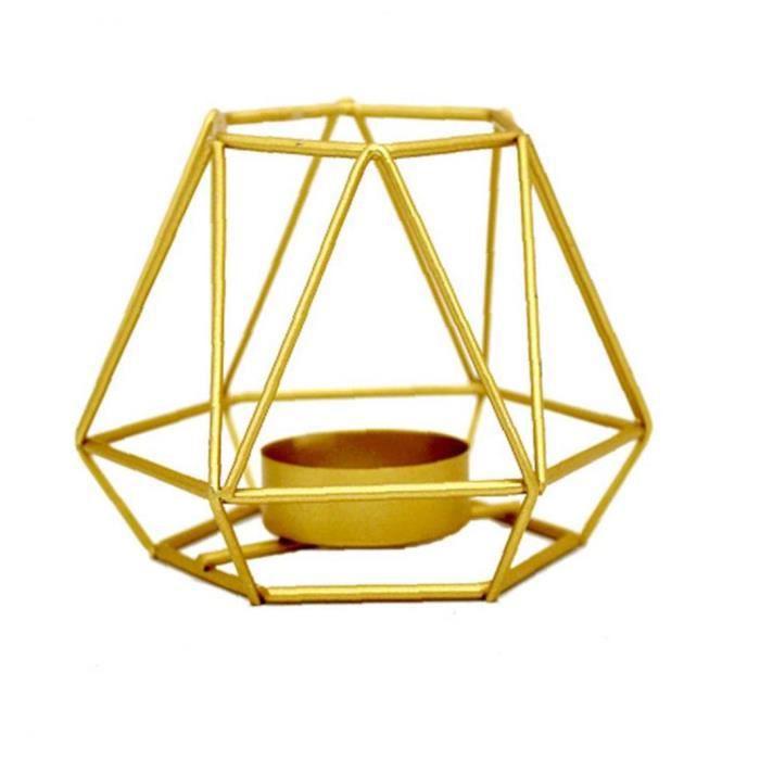 Bougeoir Candlestick Lumignon Stand creux Forme géométrique en métal doré Style1 S