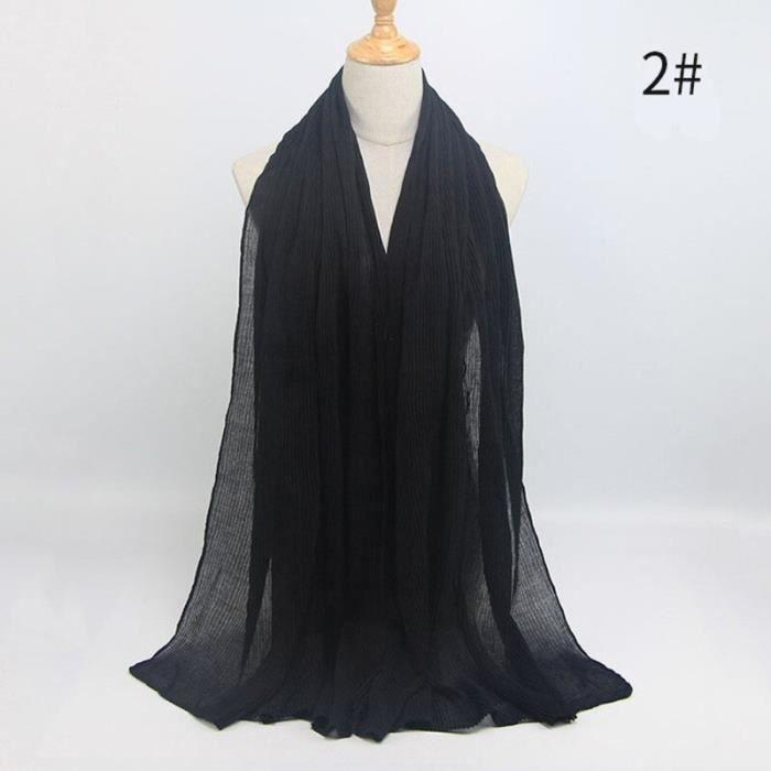 Foulard hijab en coton froissé, écharpe douce, écharpe chaude, écharpe chaude, châle, 25 couleurs, Design hiver, tendanc DY5166