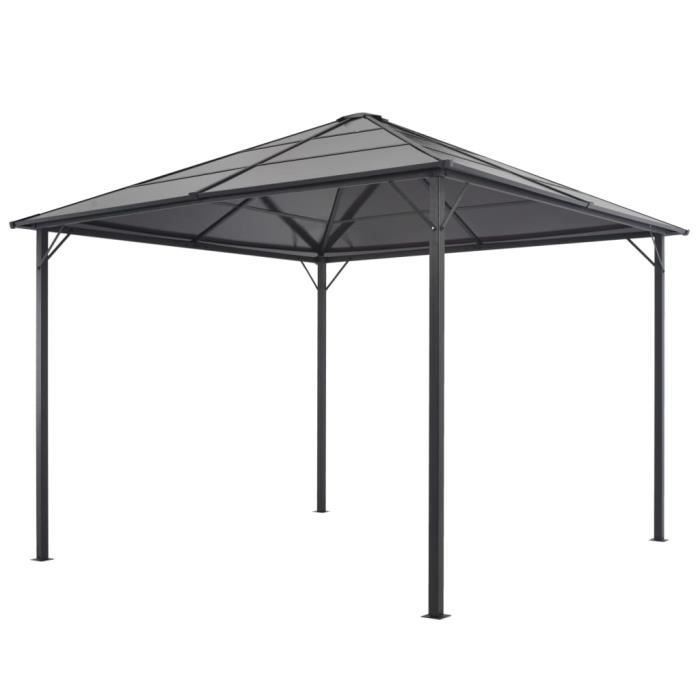 Tonnelle avec toit Aluminium 3x3 m Noir
