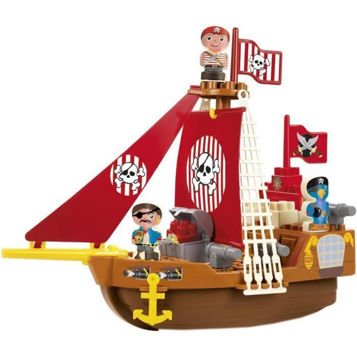 VEHICULE A CONSTRUIRE ENGIN TERRESTRE A CONSTRUIREJouets Ecoiffier -3023 - Bateau pirate Abrick – Jeu de construction pour enf360