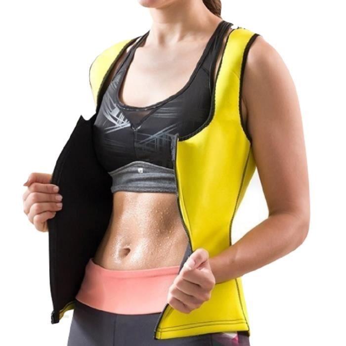 Gilet de sport M femme sudation sauna néoprène jaune