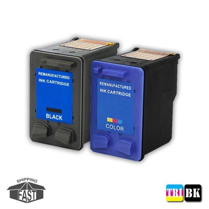2 CARTOUCHES D'ENCRE COMPATIBLE assorties H62 BK XL - H62 TRI XL pour imprimantes Envy 7640 e-All-in-One