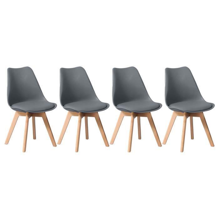 Lot de 4 chaises scandinaves MARIA grises avec coussin - Gris