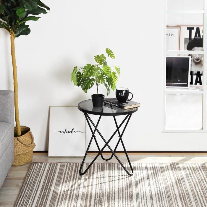 HOMY CASA Petite table basse, tuyau de fer noir pulvérisation 45× 45× 50cm