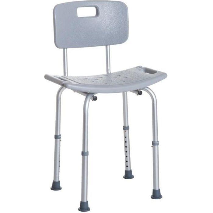 Chaise de douche siège de douche ergonomique hauteur réglable pieds antidérapants charge max. 136 Kg alu HDPE gris