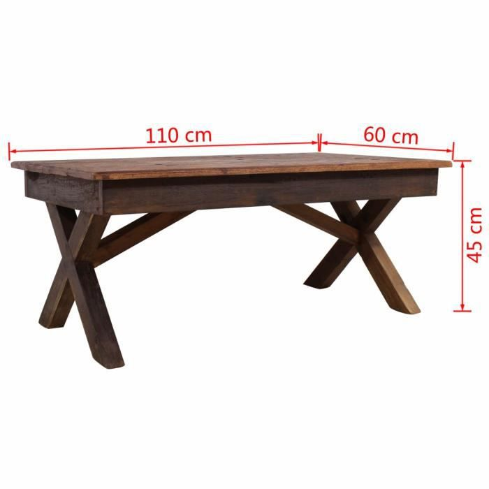 Table Basse Rectangulaire - Table de Salon - Table Basse Relevable - Table Basse Industrielle en Bois de Récupération Massif