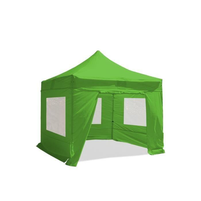 Tente pliante Barnum Tonnelle 3x3m polyester 300g/m² pelliculé PVC tube aluminium 40mm hexagonal Montage minute + bâches fenêtres