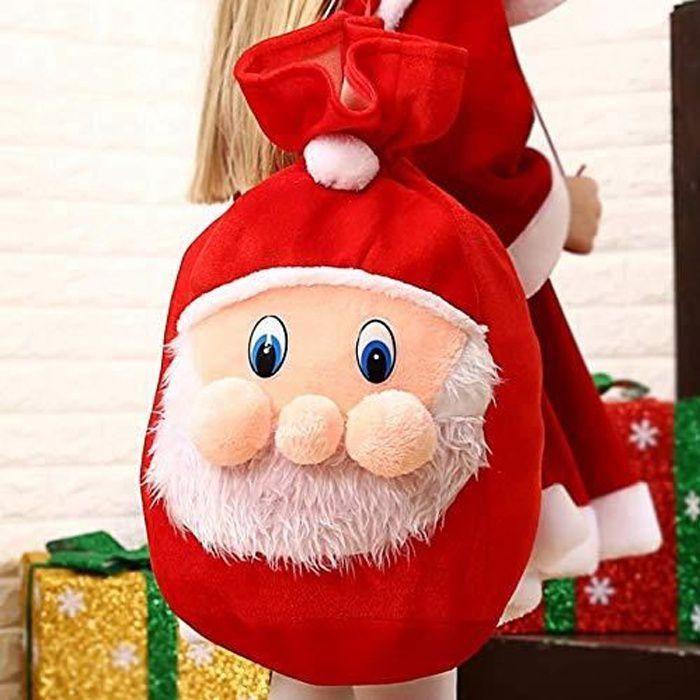 Hotte du père Noel,De Grande capacité Impeccable y Glisser Tous Les Cadeaux, idéal compléter Un déguisement de Pere Noel 50*37cm